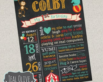 Circus Theme Birthday Chalkboard Sign - First Birthday chalkboard - Birthday Sign - Carnival, Circus - Digital Print