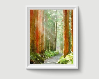 Forest Painting Postcard Poster Art Print Q266