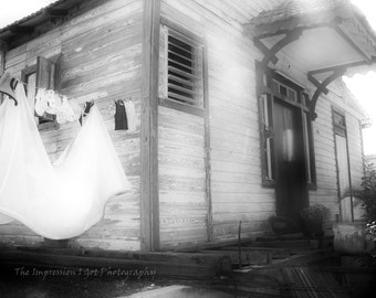 Fine Art Photo Instant Digital Download - Island House B&W - Black and White Photography, Weathered Paint, Wooden House, Clothesline Laundry