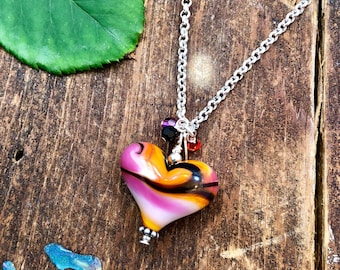 Pink, Orange, and Black Swirled Heart Pendant. Sterling Silver Chain. Heart Jewelry. Swarovski Crystals. Pink Heart Necklace. Glass Jewelry.