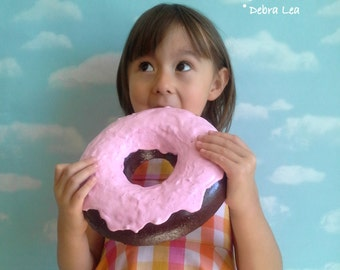 GIANT Faux Donut Fake Doughnut  WALL Art Plaque Pastel Pink Frosting Chocolate DECOR Cake Kitchen Display