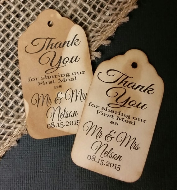 Thank you for Sharing our First Meal LARGE Tag Personalize with names and date choose your quantity