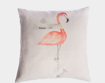 Flamingo Thank You, pink flamingo cushion covers, handmade linen, cotton blend, square throw pillow covers, shabby chic, decorative covers
