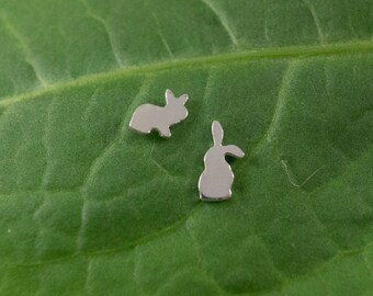 Silver Rabbit earrings: A pair of curious Bunny shaped sterling silver earrings.