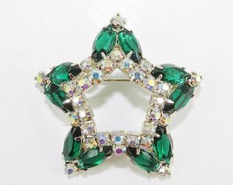 Beautiful Vintage Rhinestone Brooch Star Emerald Green Open Back