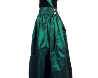 vtg 80s Alfred Angelo Velvet Irridescent Green Taffeta Prom Dress Maxi Halter 34