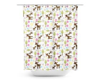 Woodland Deer Nature Theme Shower Curtain, Kids Bathroom, Deer Bathroom Decor