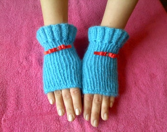 Fingerles Gloves, Mohair Gloves, Hand Knit Gloves, Fingerless Gloves, 100% Handmade, Knitted Wrist Warmers, Fall Gloves, MOCHAIR Arm Warmers