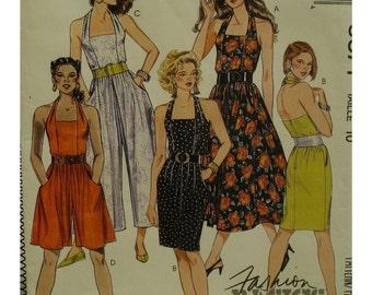 "Halter Jumpsuit Pattern, Romper, Sundress, Straight or Full Skirt, Backless, Side Pockets, Belted, McCalls 5371 Size 10 (Bust 32.5"" 83cm)"