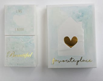 set of 3 frames gold calligraphy and watercolor