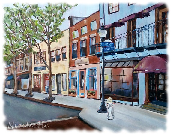 Wilmington, NC print from original artwork, watercolor paper, coastal decor, Market and Water Street, downtown Wilmington North Carolina art