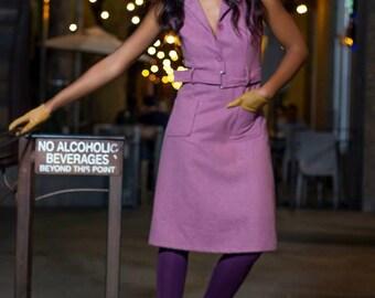 1960's Vintage LAVENDER dress MOD Purple madmen secretary day dress spring color collared dress belted small s