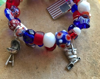 FOURTH Of JULY Charm Bracelet-Red White & Blue-American Flag-Barbeque-Sand Bucket-Fireworks-Stars and Stripes-USA-Independence Day-Holiday