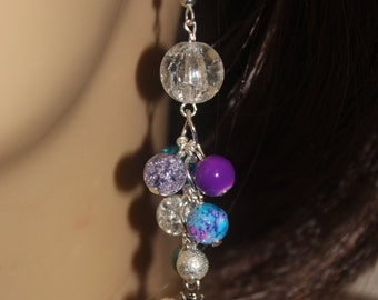 Colorful, Boho, Cluster Earrings. Glass Beads and Crackled Quartz Clusters. Clear, Silver, Orchid, and Turquoise Clusters with Bee Charms.