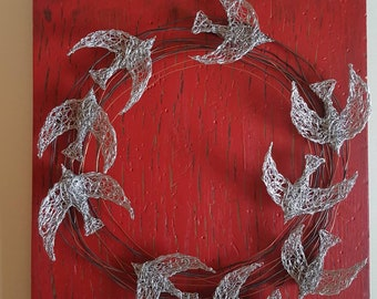 Circling birds.  Wire sculpture. Metal Art.  Wall hanging.  Wire art