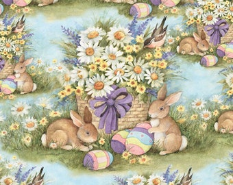 BTY Susan Winget EASTER BASKET Garden Bunnies Print 100% Cotton Quilt Craft Fabric by the Yard