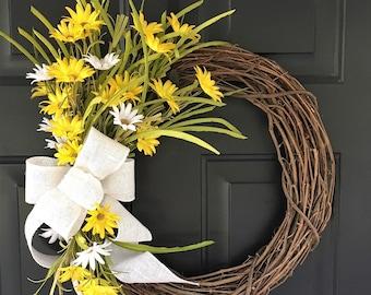 White and Yellow Wildflower Wreath