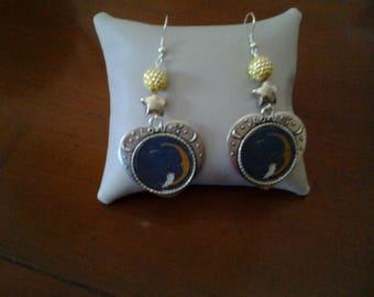 Columbine on Crescent Moon earrings