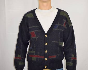 Vintage Men's 80's Navy Blue Acrylic Wool Knit Cardigan Sweater By Size Medium