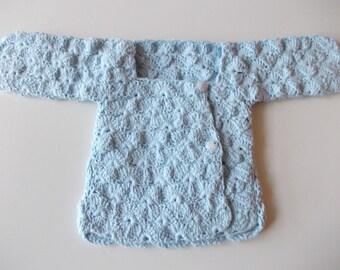 BLUE CROCHET COTTON SWEATER