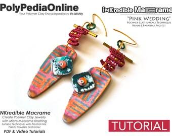 Macrame Tutorial, Knotting Tutorial, DIY Macrame, Macrame Jewelry, Handmade Beads, Macrame Earring, Earring Pattern, Polymer Clay, Video