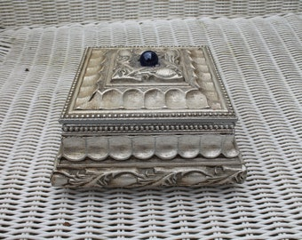 Wooden Jewelry / Keepsake / Trinket Box Painted Silver and Antiqued