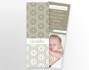 Invitation baby girl or boy, mixed - to personalize - model Geraldine