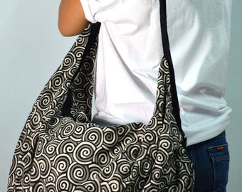 Black Spiral Hobo Boho Shoulder Crossbody Bag Backpack Tote SPI01