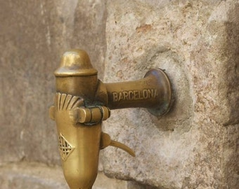 Barcelona, Bathroom art, water faucet print, Architecture detail, rustic wall décor, fine art prints, Barcelona, wall decor,