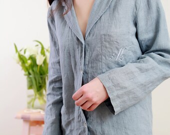 Linen Pajama Set For Women/ Monogrammed Pajama With Bag/ Personalized Pajama/ Luxury Linen Women's in Blueish-Grey