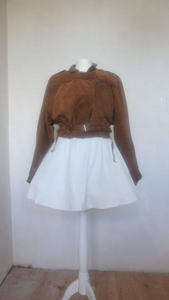 Genuine Suede Biker Jacket Size Leather Crop Dolman Motorcycle Ramones 80s Bat M Unisex Clothing Camel Wing Brown Sleeve S Classic Vintage wx0SqYPtx