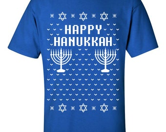 HAPPY HANUKKAH Ugly Christmas Sweater Funny Men's Tee Shirt B109