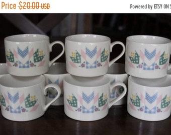 Patchwork Quilt, International Table-works Mugs, Coffee Mugs, set of 10 mugs, vintage coffee mugs, lot of 10 mugs, China