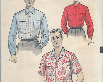 "Vintage 1952 Advance 6282 Men's Shirt Long Or Short Sleeved Sports Shirt Sewing Pattern Size Medium Neck 15-15 1/2 Chest 38""-40"""