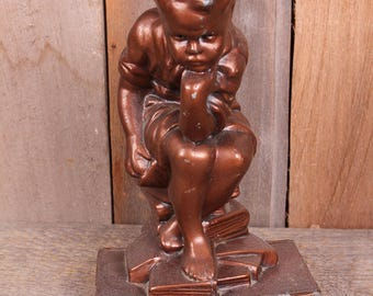 Vintage Thinker Little Boy Metal Bronze Color Metal Bookend