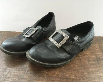 Black Leather Shoes Norwegian Bunad Children's Shoes with Metal Buckle Boys Girls Norwegian Traditional Costumes Size EU33