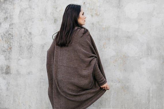 long sweater oversized cocoon cardigan boho shrug coat style bohemian wrap woman brown romantic Alpaca gift gray wool cardigan knit BYxB0