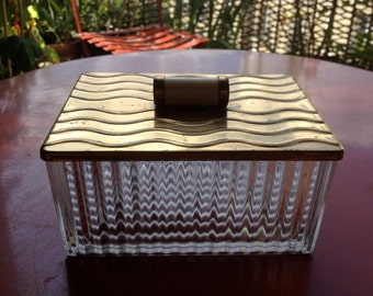 Vintage french glass  box .  Art Deco circa 1930
