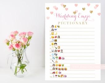 Wedding Emoji Pictionary printable bridal shower game, blush gold heart confetti, Valentine's wedding shower, INSTANT DOWNLOAD 015