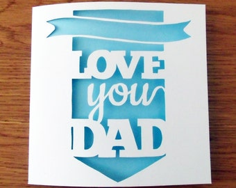 Father's Day Card Paper Cut / Papercut Template - DIGITAL DOWNLOAD - Commercial License