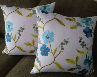"""Embroidered Blue Floral Decorative Pillow Cover,Designer Fabric,20"""" Square Cover Only,Zippered,Neutral Fabric on Back,Made to Order."""