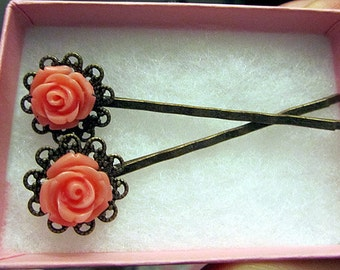Coral rose with antique bronze ahir bobby pin 2pc
