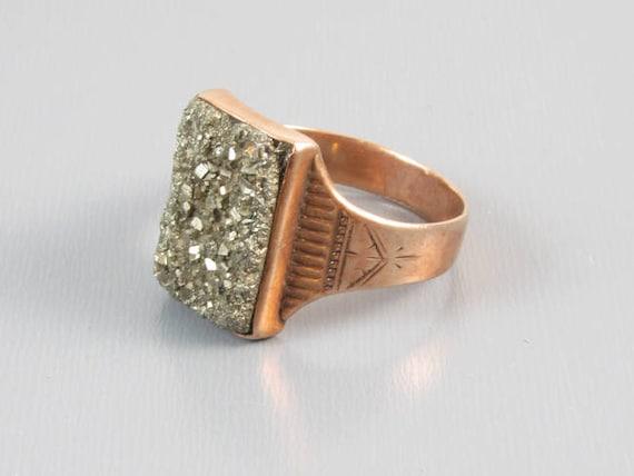 Antique Victorian 10k rose gold pyrite druzy ring, size 11, gold rush, fools gold, souvenir, pink gold, mens ring, mans ring, druse