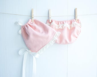 Dusty Pink Linen Bonnet Set-Baby Girl Bonnet Set-Lace Trim Bonnet and Bloomers-Diaper Cover-Pink Bonnet Set