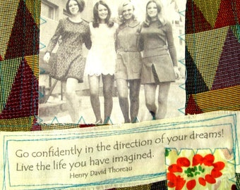 fabric wall hanging, textile fiber art, fabric collage, inspirational quote, confidence, youth, dreams, imagination, Thoreau