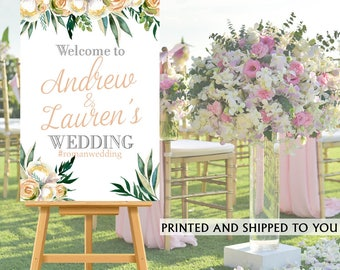 Welcome to Our Wedding Sign - Floral Wedding Bride & Groom Sign- Reception Sign Printed Wedding Ceremony Sign, Printed Bridal Shower Sign