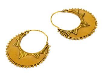 Gypsy Hoop Earrings, Brass Earrings, Gypsy Earrings, Tribal Hoops, Indian Earrings, Brass Hoops, Tribal Earrings, Gypsy Jewelry