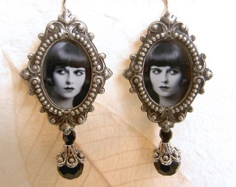 Louise Brooks Earrings - Silent Film Earrings - Flapper Earrings - Art Deco Earrings - Gothic earrings - Lulu Earrings