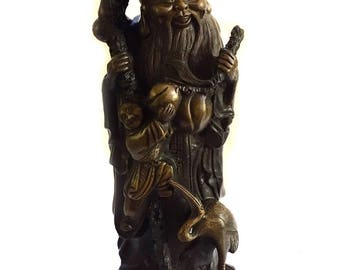 "12"" Chinese Shou Lao God of Longevity Bronze Statue with Chop Mark - Vintage Bronze Statue"