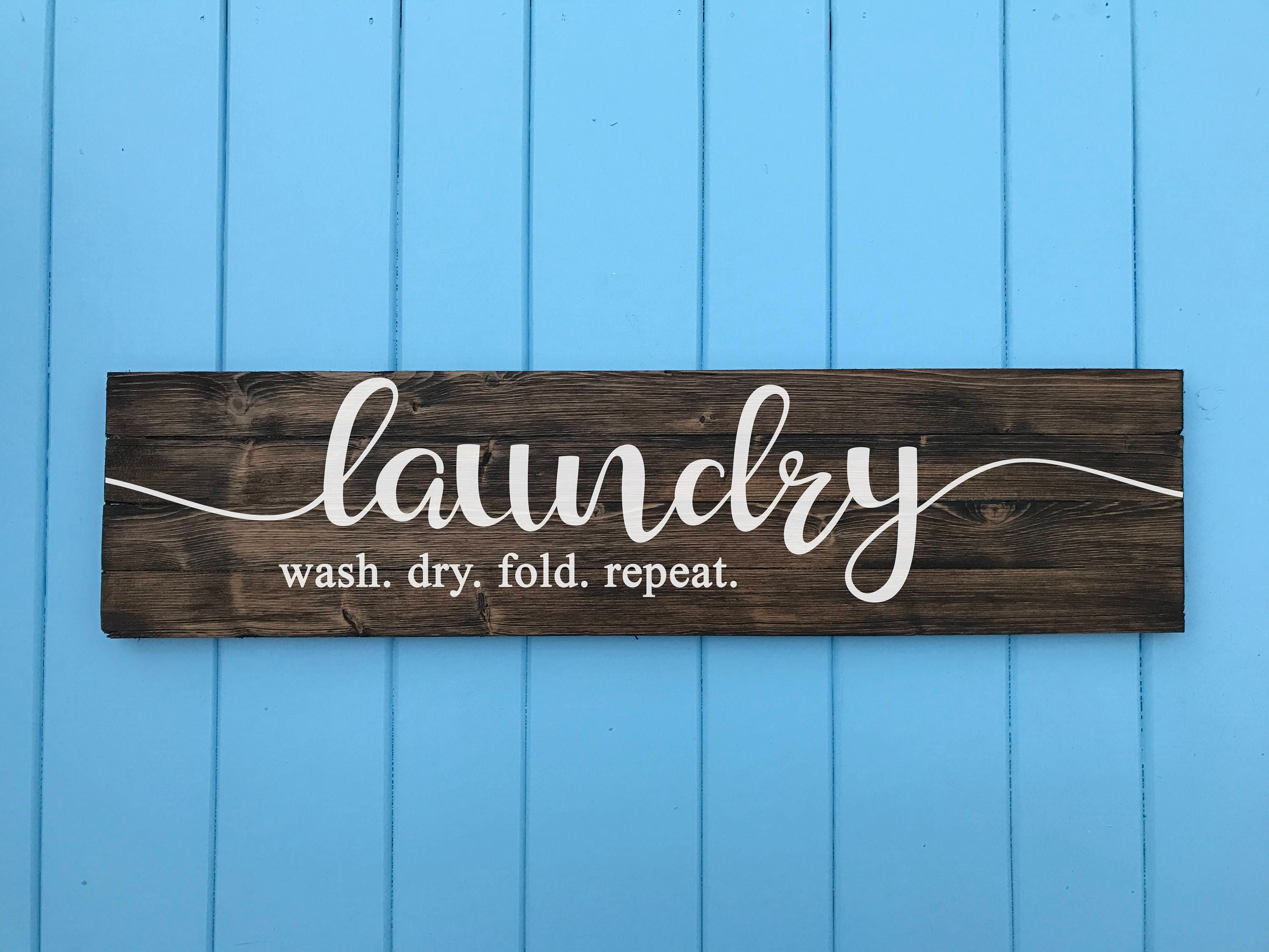 Laundry Signs For Home Laundry Sign Wash Dry Fold Repeat Laundry Room Decor